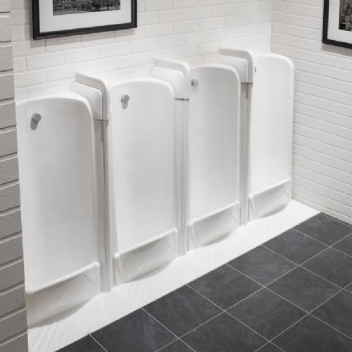 Healey & Lord 4 Station Back Inlet Niagara Floor Standing Slab Urinal Fused Run